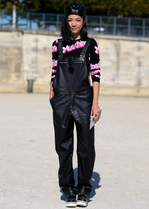 Best Spring 2015 street style: The leather overalls