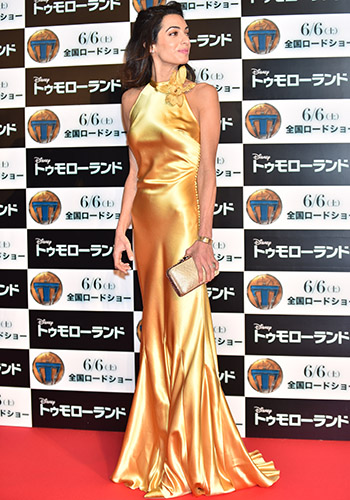 Amal Alamuddin wore liquid gold on the red carpet in Tokyo