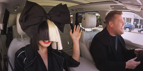 Sia and James Corden Carpool Karaoke; swing from chandeliers