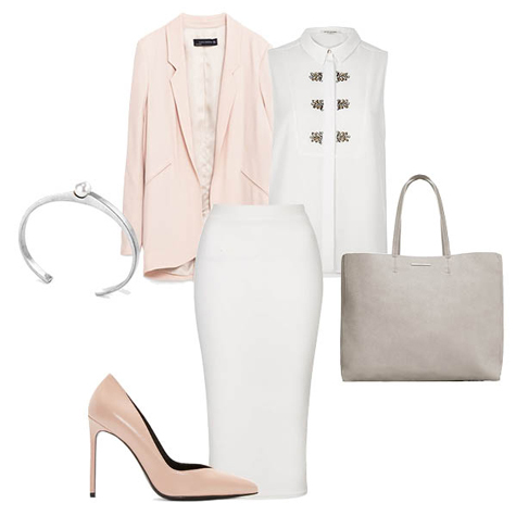 A pastel pink blazer is everything your 9-5 wardrobe needs