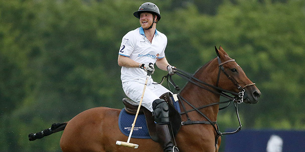 Here's Prince Harry on a horse in the rain