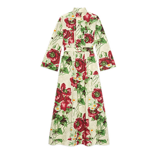 Belted-dress-with-poppy-print-gucci