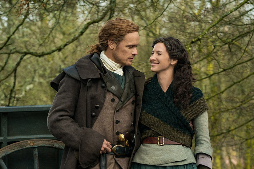 Sam Heughan and Caitriona Balfe in Outlander Season 5