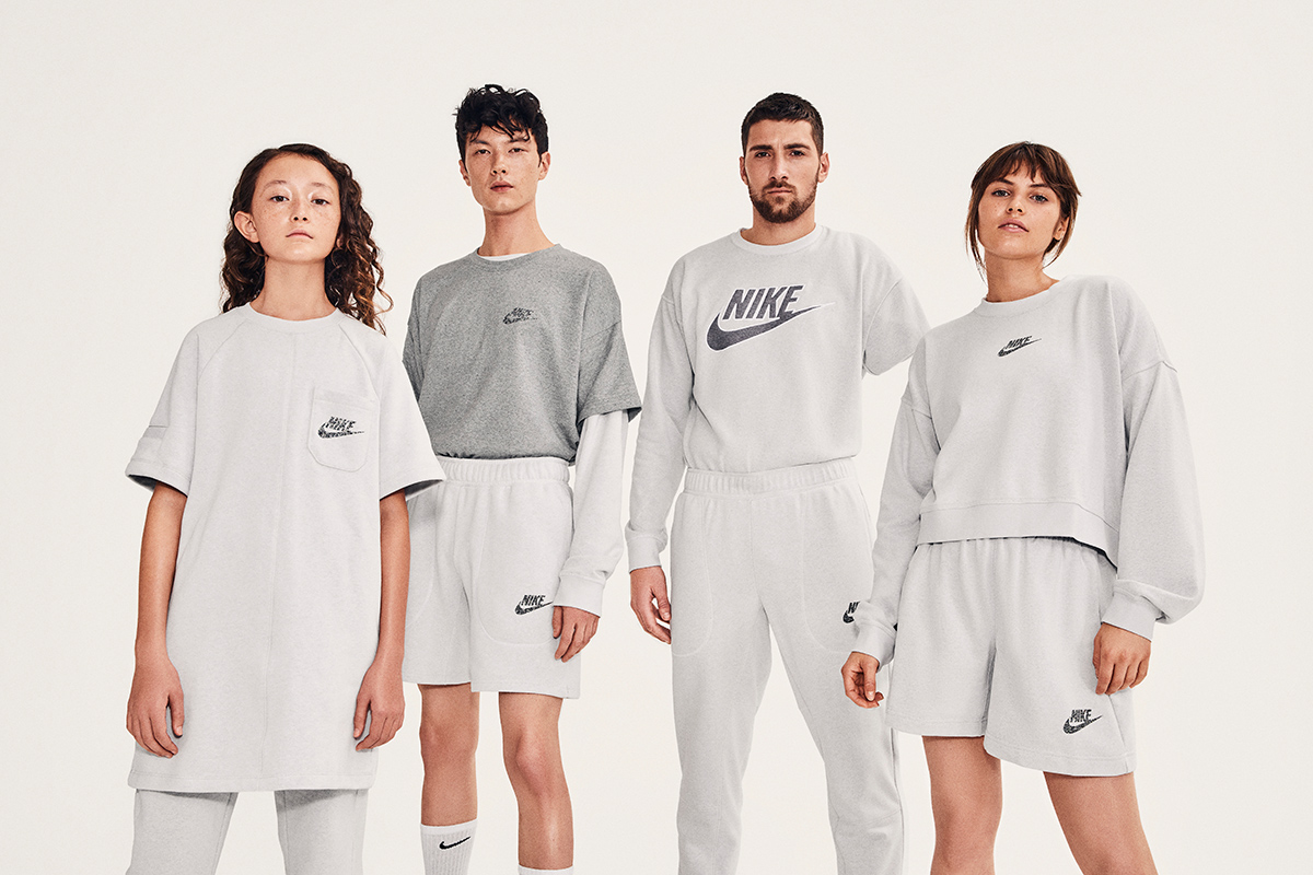 The Nike Move to Zero athleisure capsule uses 60 percent organic cotton and recycled fabric, along with a windbreaker that's fully recycled.