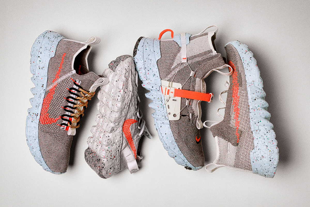 The Nike Space Hippie sneaker uses Nike Grind in its foam, and its yarn comes from recycled water bottles and T-shirts.