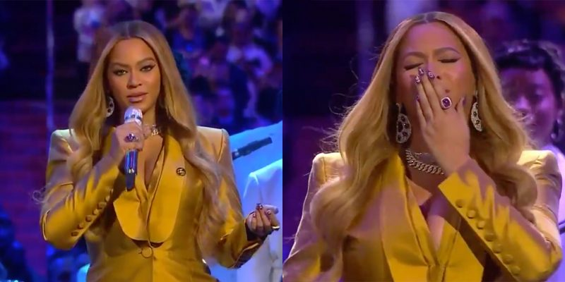 Beyoncé performs at the Kobe Bryant memorial service.