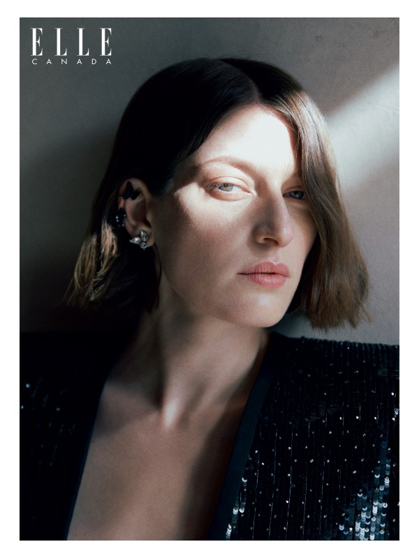 Sequin-embroidered-wool-sable jumpsuit, brass and crystal earring and brass and strass earring