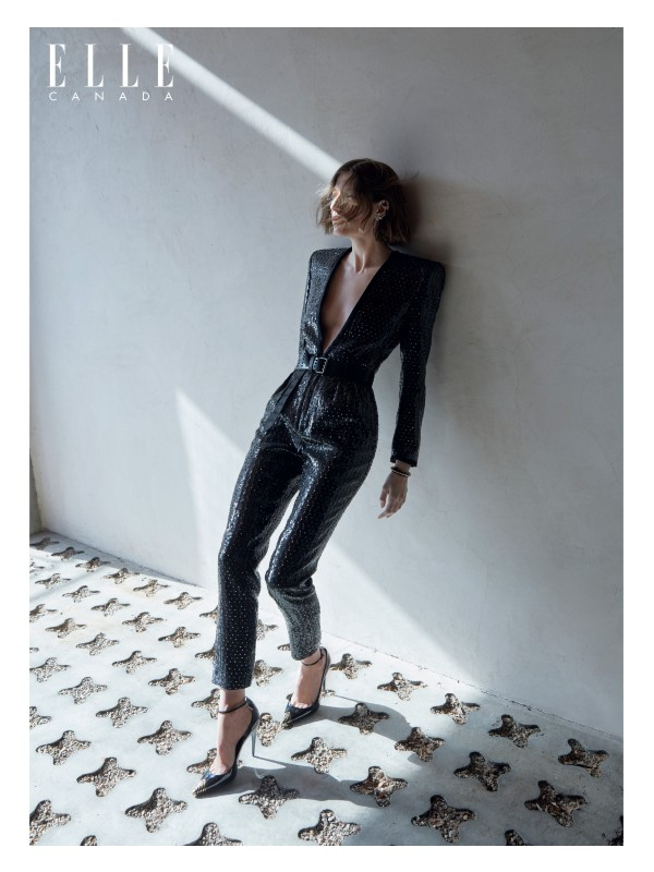 Sequin-embroidered-wool jumpsuit, leather belt, brass and crystal earring, brass and strass earring, brass bracelet and leather pumps