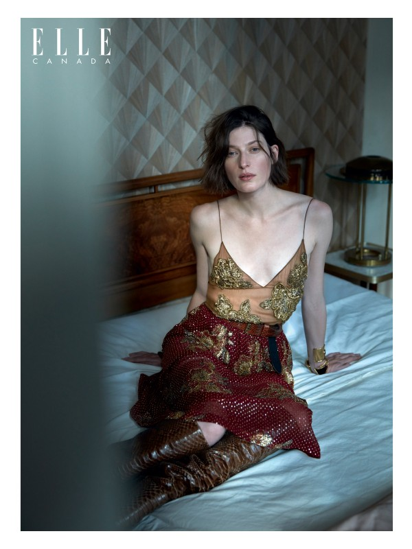 Embroidered-chiffon top, embroidered-silk skirt, brass cuffs and bracelet and python-skin boots