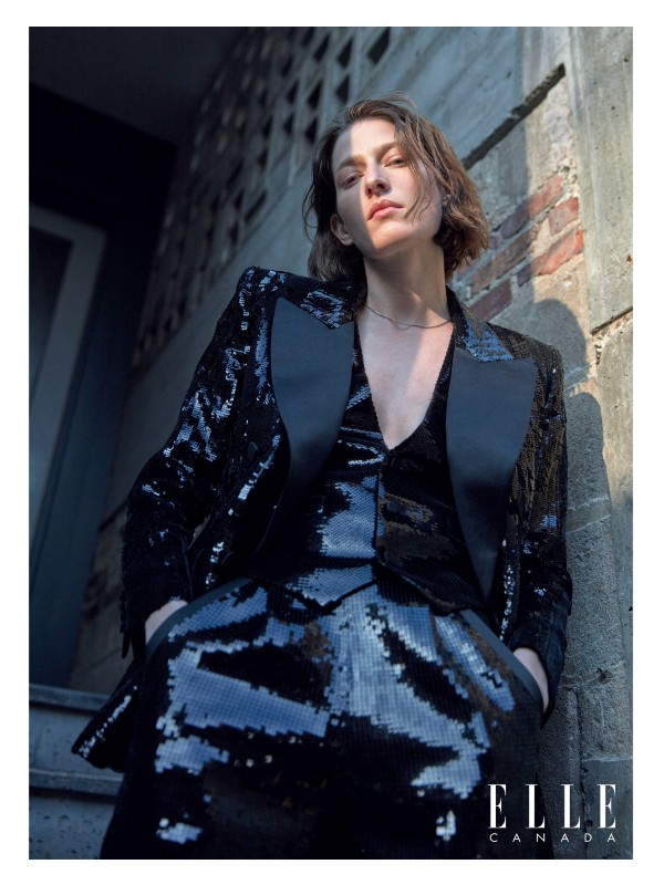 Sequin-embroidered-wool jacket, vest and shorts and silver necklace