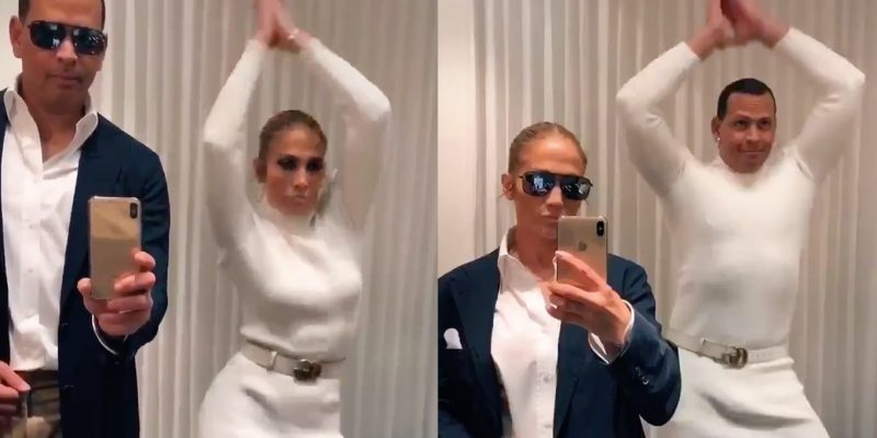 "Jennifer Lopez and Alex Rodriguez take on the ""Flip the switch"" TikTok meme."