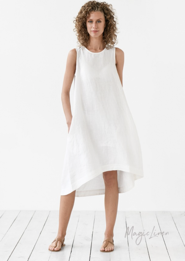 White Linen Dress Worn By Meghan Markle in 2020