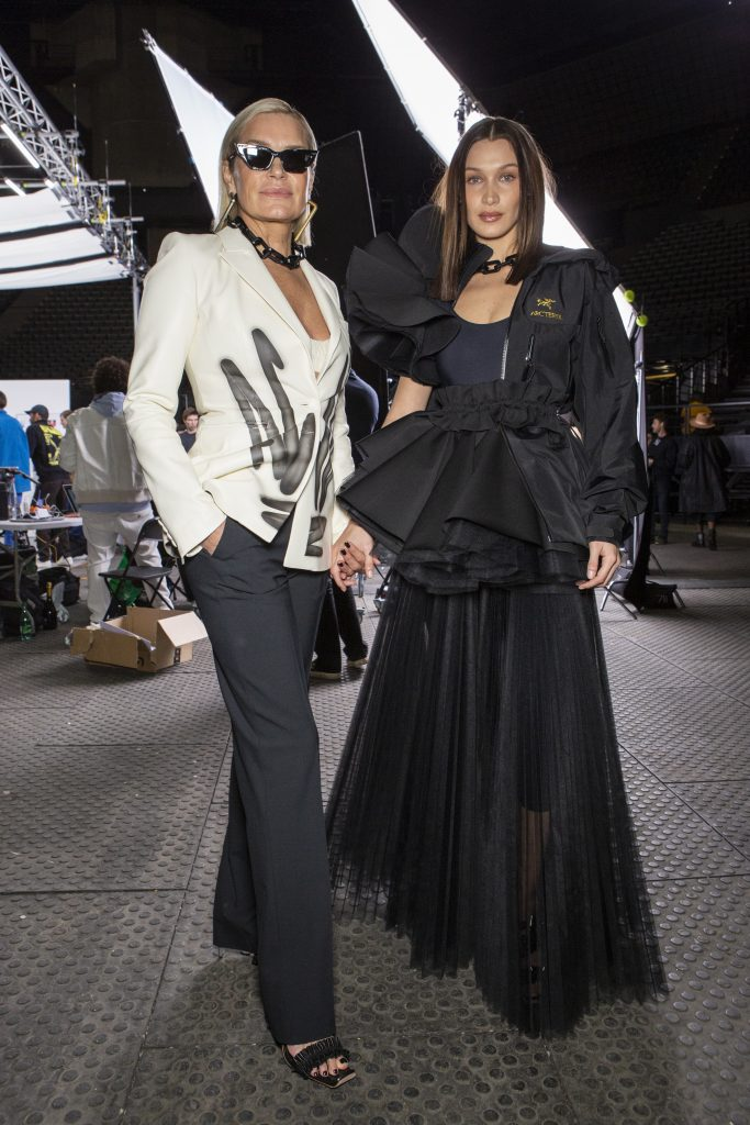 Yolanda and Bella Hadid backstage at the Off-White show.