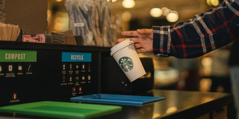Compostable and recyclable cups are being tested at Starbucks locations in Vancouver.