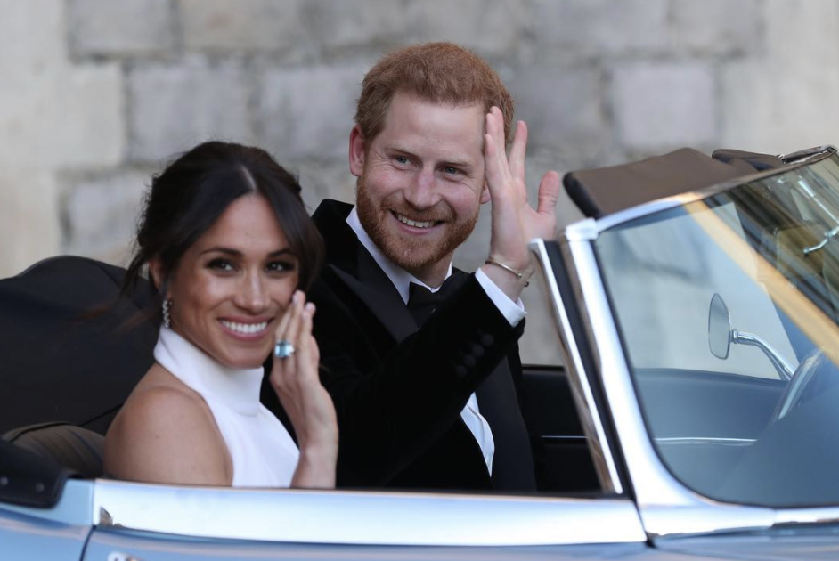 Prince Harry and Meghan Markle on the way to their wedding reception.