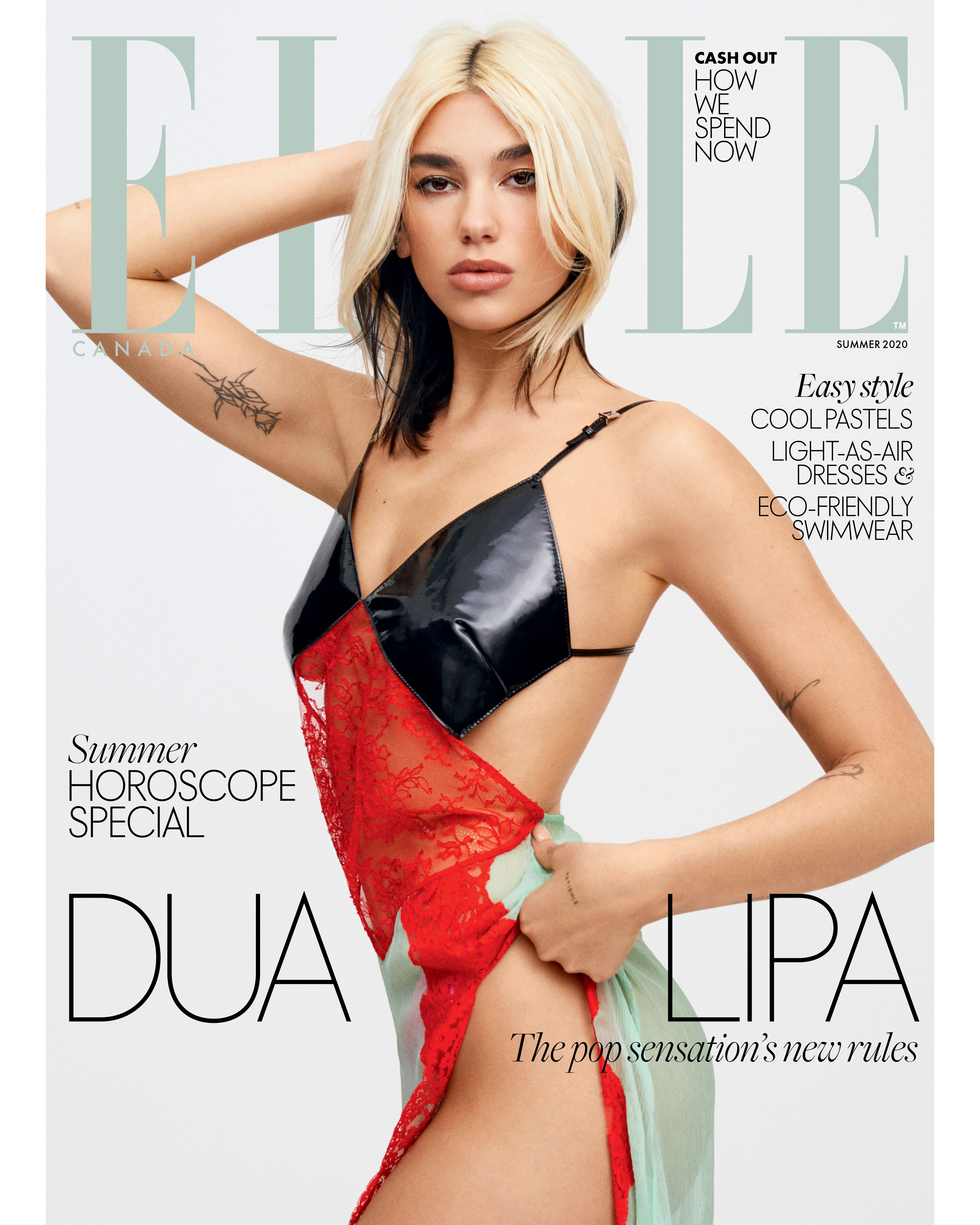 Dua Lipa on the cover of ELLE Canada
