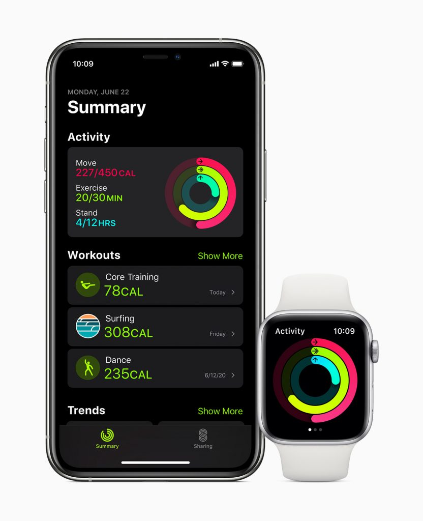 The redesigned Activity app on iPhone, now called Fitness.