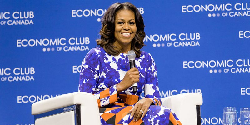 Michelle Obama at a Economic Club of Canada/Plan International Advancing Women & Girls to Change the World event in Toronto in 2018.