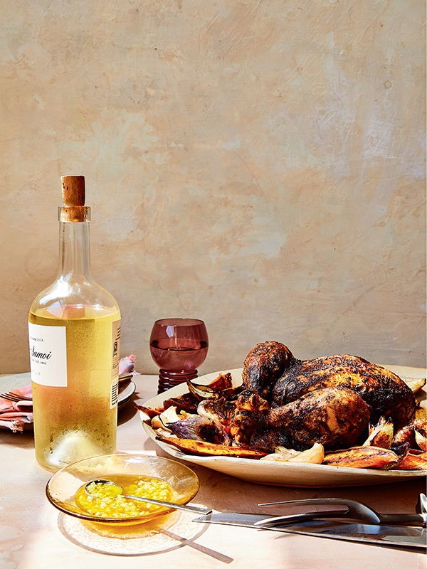 Baharat Whole-Roasted Chicken with Roasted Shallots