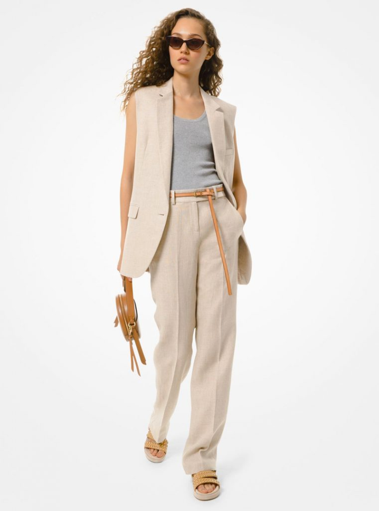 LINEN SLEEVELESS JACKET, MICHAEL MICHAEL KORS
