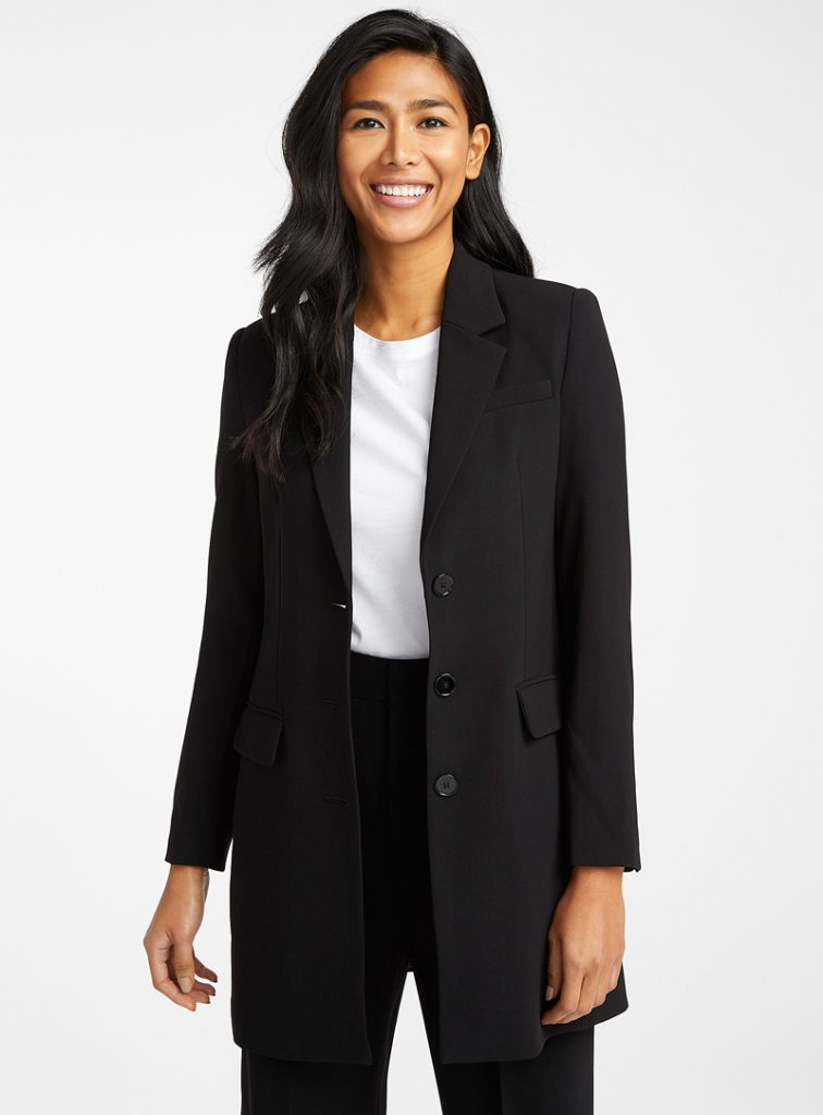 LONG CREPE BLAZER, CONTEMPORAINE, AT SIMONS