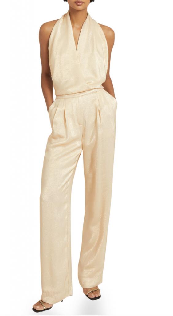 Nordstrom Reiss Jody Metallic Backless Jumpsuit