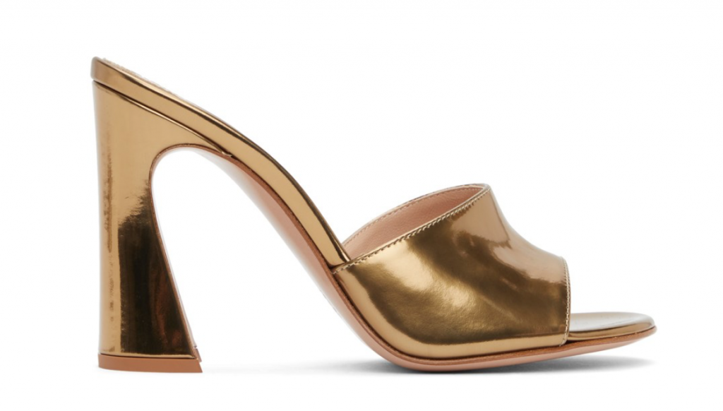 SSENSE Gianvito Rossi Gold Curved Heeled Sandals