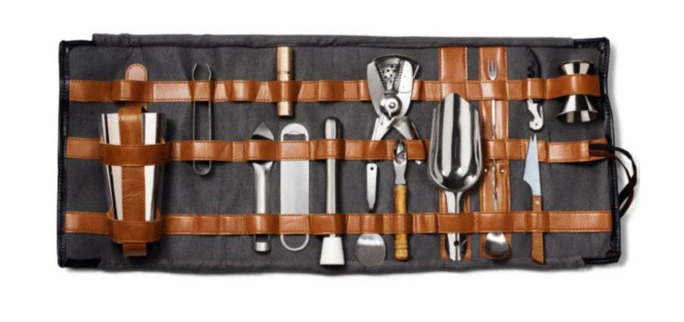 Leather Roll-Up Bartender's Kit