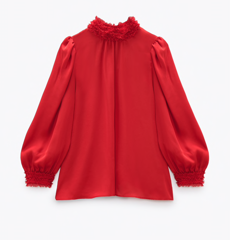 Zara Satin Effect Ruffled Collar Blouse