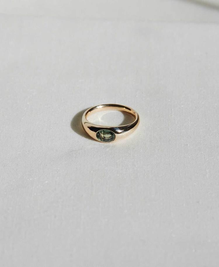 Meadowlark Claude Ring with Green Sapphire,