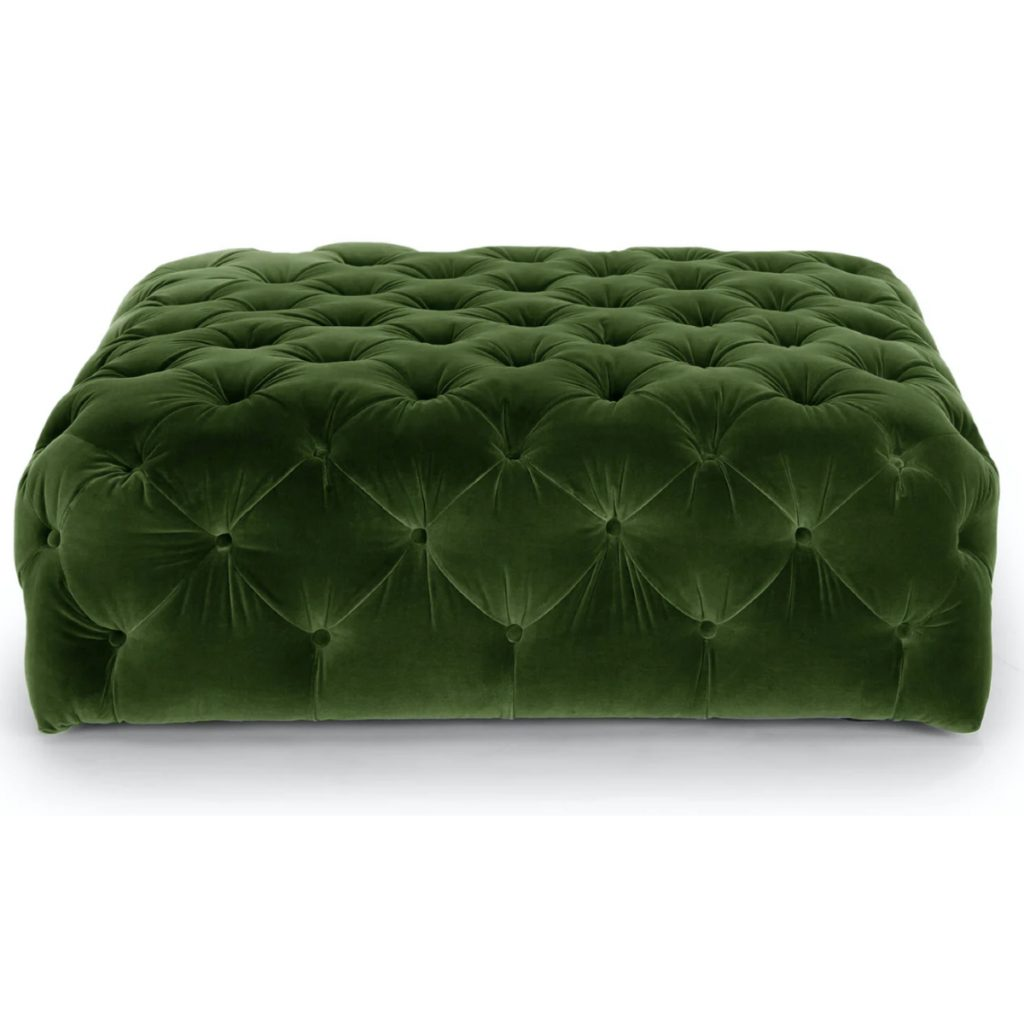 Article Diamond Grass Green Velvet Ottoman
