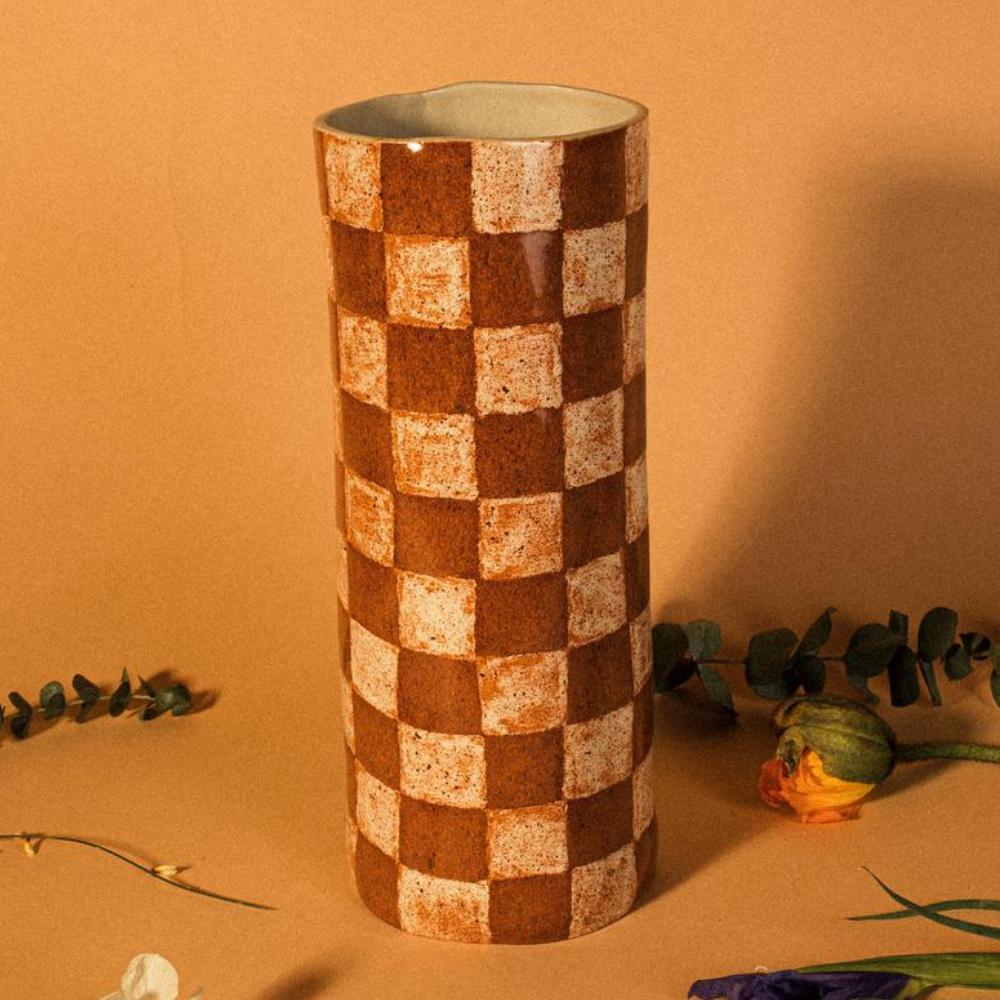 Check Pattern Ceramic Flower Vase, ErbsyStudio
