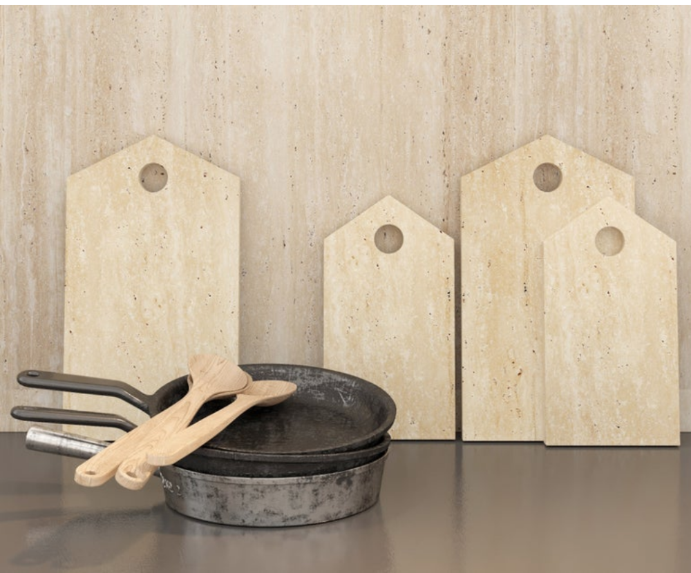 Decorative Travertine Cutting Board, BBStoneStudio