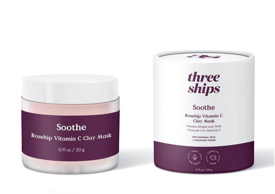 Soothe Rosehip Vitamin C Clay Mask, Three Ships