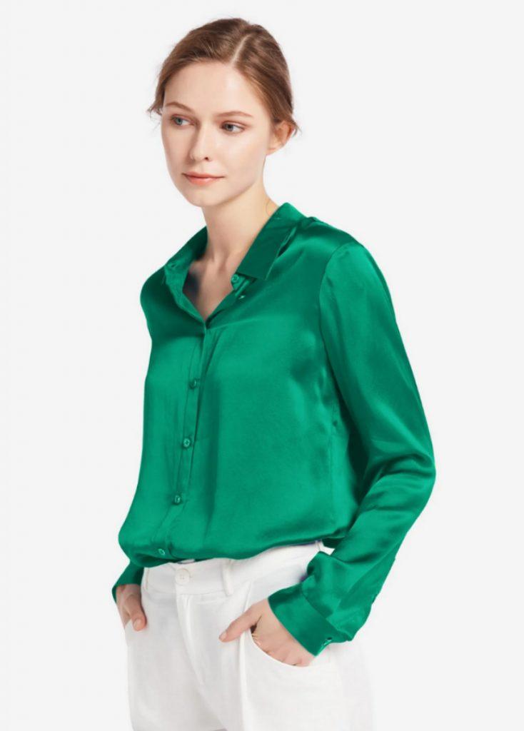 Basic Military Silk Shirt, Lilysilk