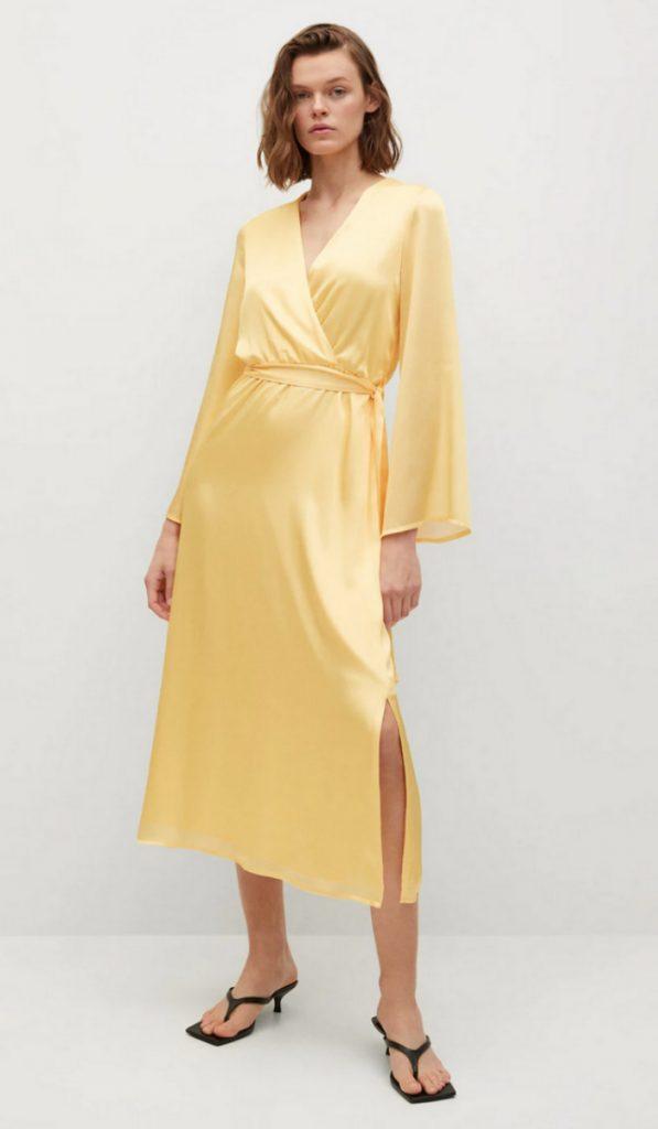 Wrapped Satin Dress, Mango