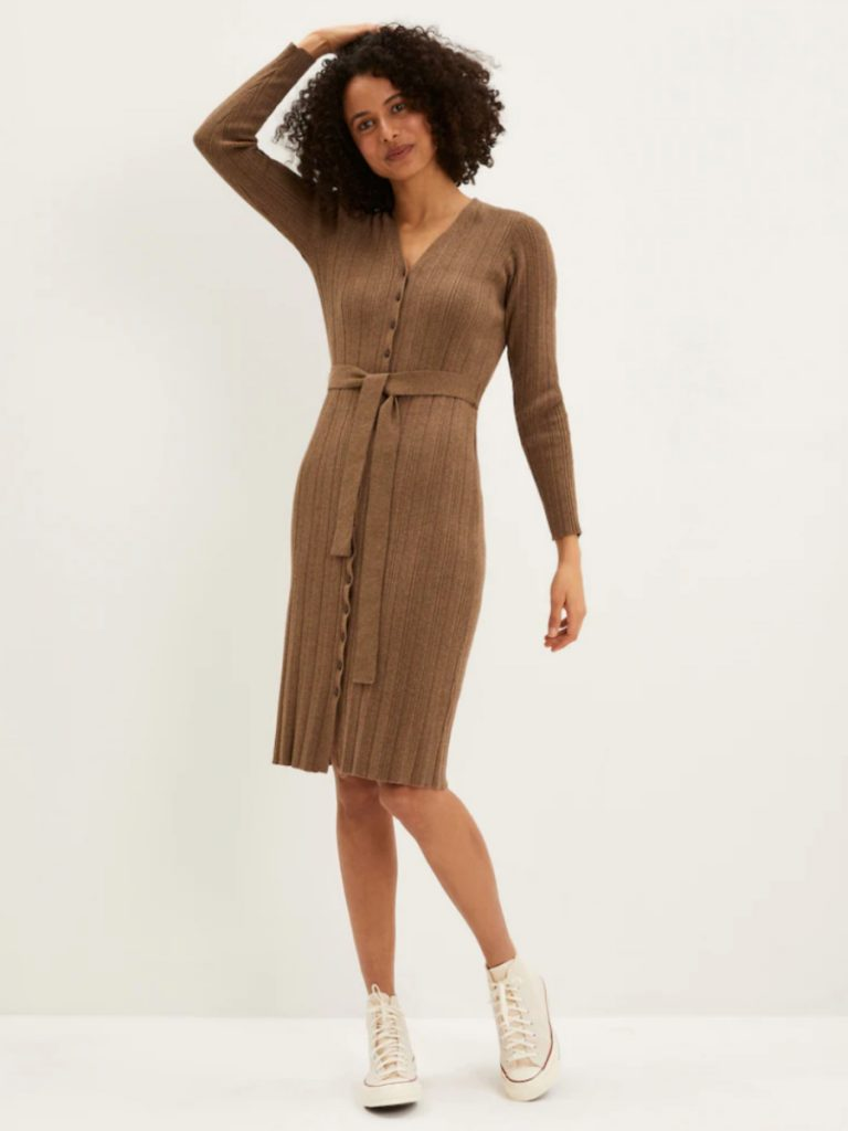 The Cardi-Sweater Dress in Marled Brown, Frank And Oak