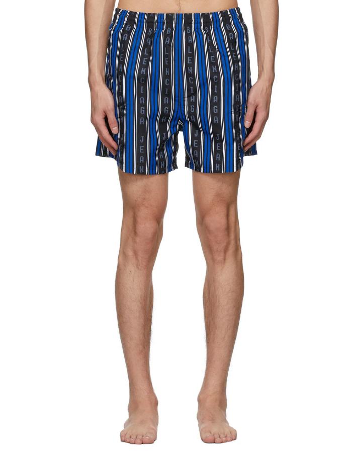 Black and Blue Logo Swim Shorts, Balenciaga