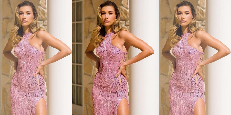 hailey-bieber-in-versace-barbie-gown