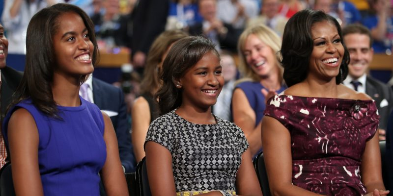 Michelle Obama with her children
