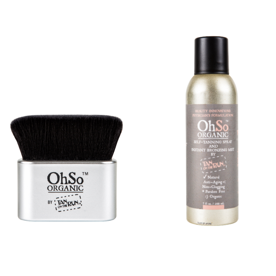 Oh So Organic Self-Tanning Spray and Instant Bronzing Mist and Brush