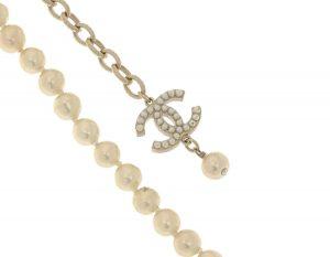 Chanel CC Logo Faux Pearl Necklace