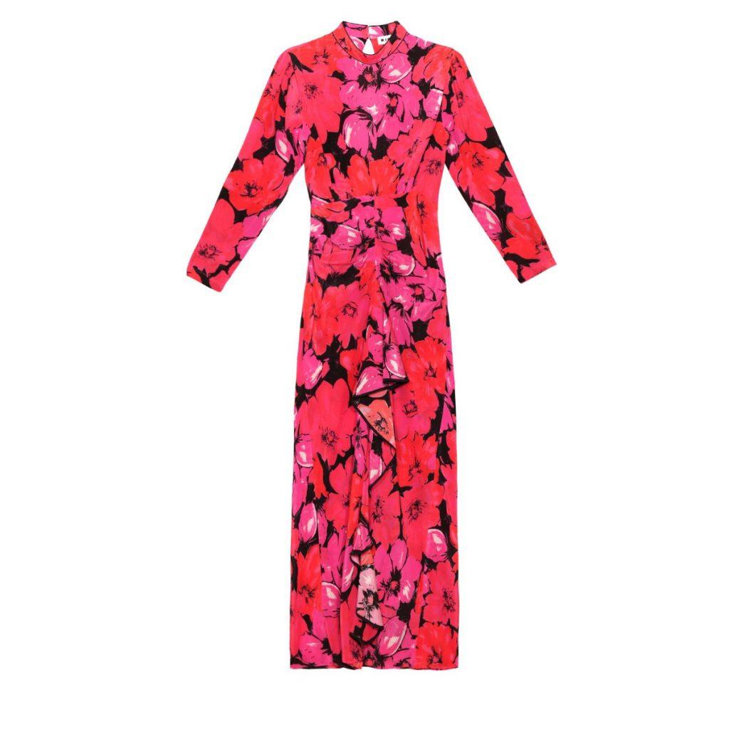 Rixo Dani Strong Shoulder Midaxi Dress