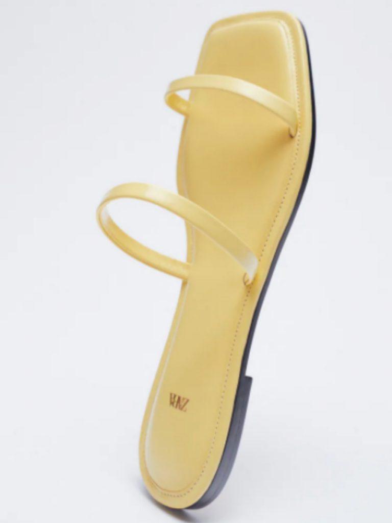 Zara Square Toe Leather Slide Sandals
