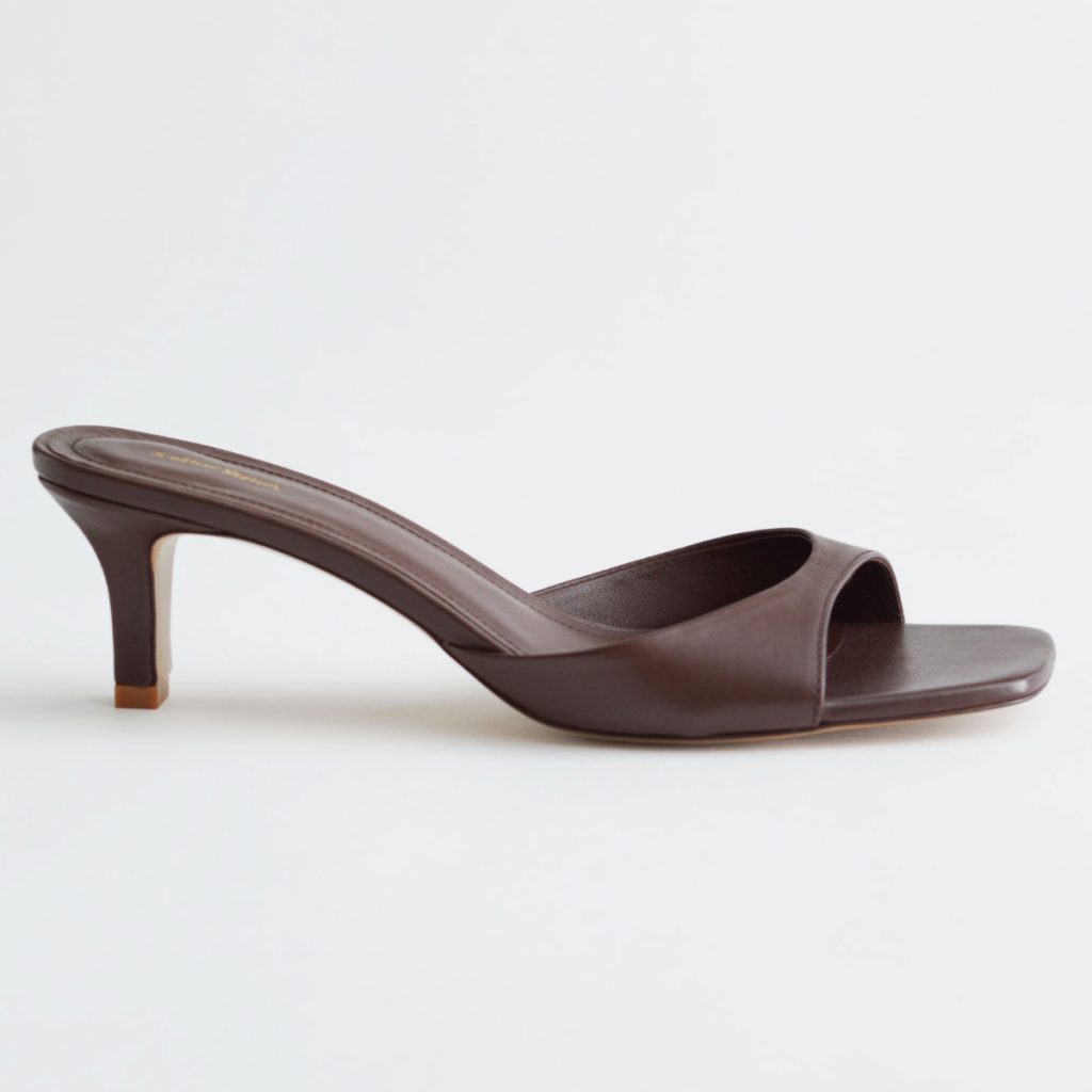 & Other Stories Flared Heel Leather Mules