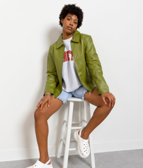 Green leather blazer, Better Stay Together