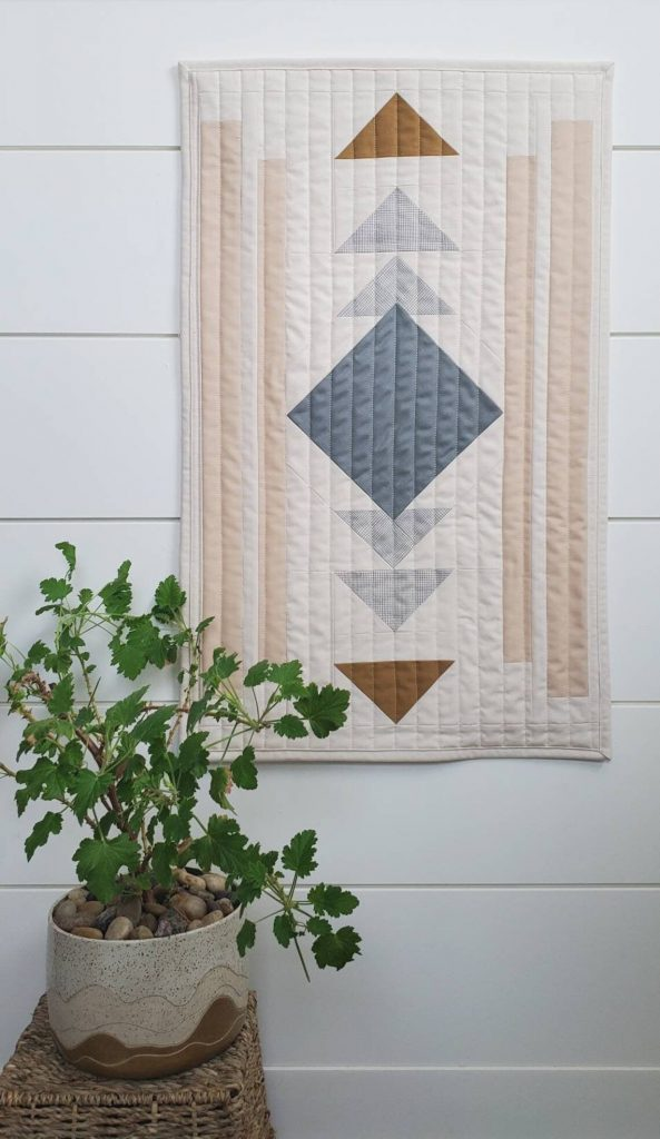 Modern quilted wall hanging geometric contemporary, Mood and Mantle
