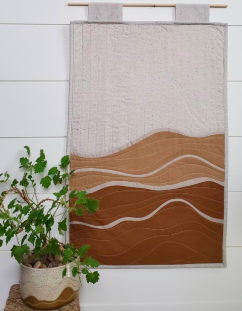 Modern quilted wall hanging abstract desert landscape, Mood and Mantle